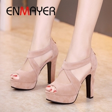 ENMAYER Spring Hand Made High Quality Heeled Sandal Flock PU Shoes for Ladies Casual Woman  34-43 Black LY9999