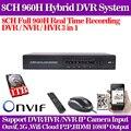 Caliente. sistema de cctv dvr de 8 canales 960 H grabador de vídeo digital hdmi 1080 p HVR NVR para ip seguridad cámara usb 3g wifi con 1 TB HDD
