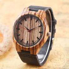 Fashion Nature Wood Bamboo Black Genuine Leather Band Strap Sport Wrist Watch Men Women Hot Bangle Minimalist Bracelet Gift