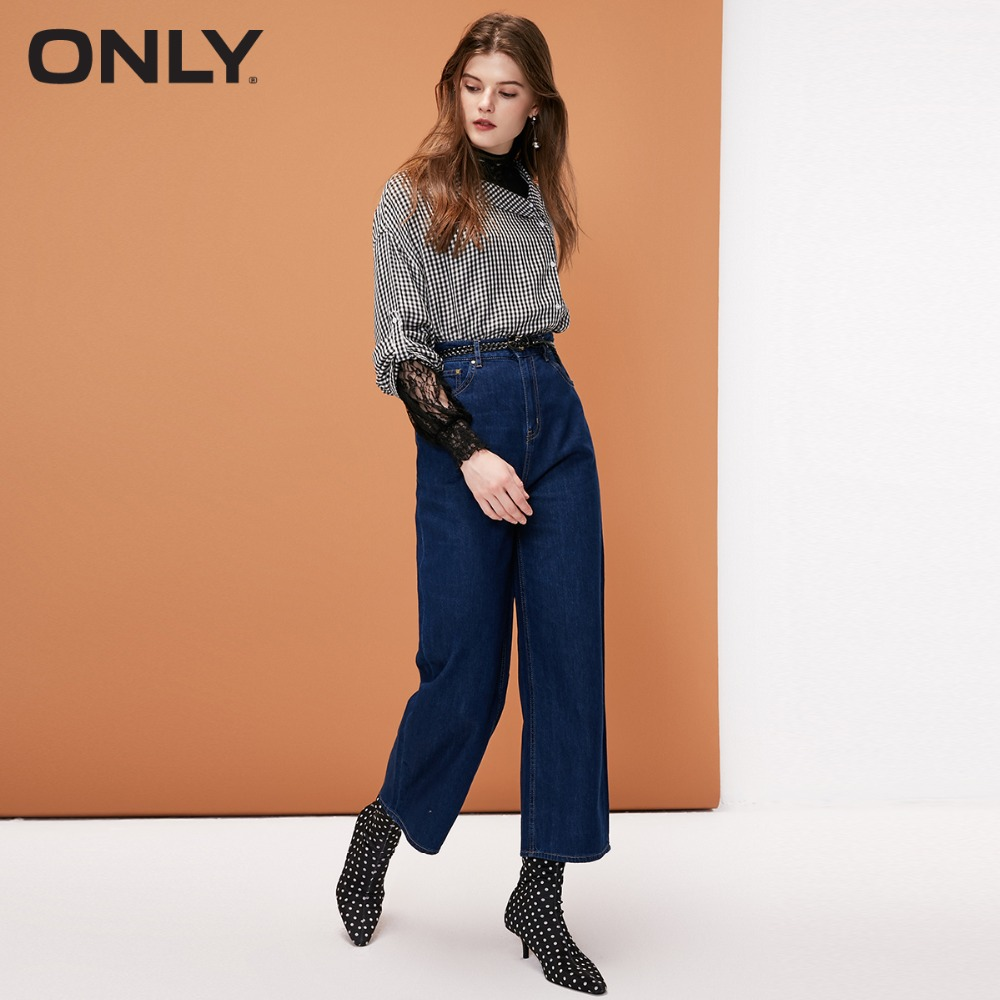 ONLY womens' winter new wide leg cropped   jeans   Simple and stylish Vintage texture button|118349641