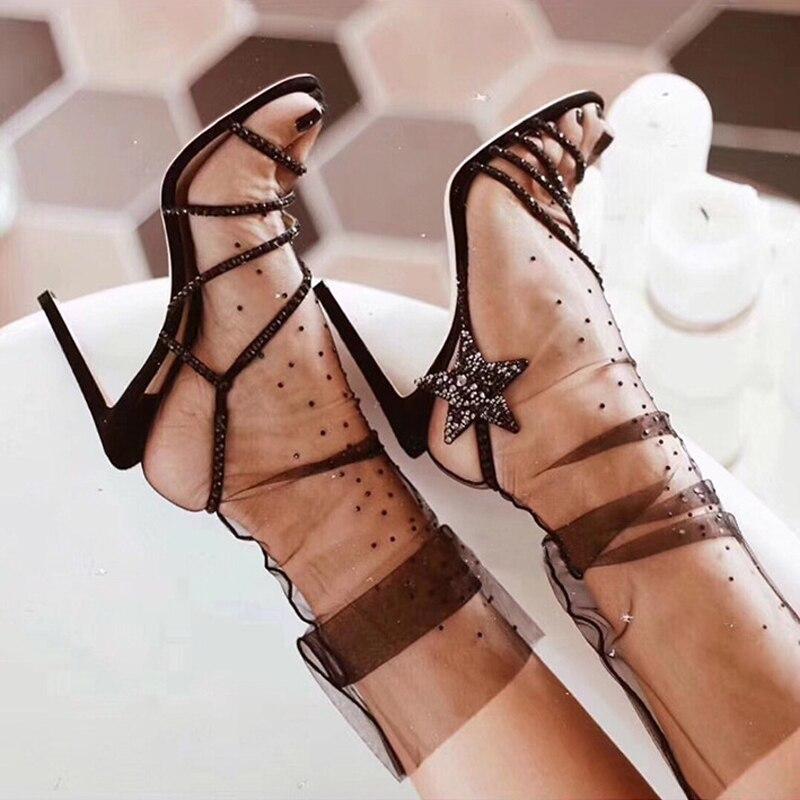 Luxury Brand Crystal Embellished Suede Sandals 2019 Summer Strappy High Heels Women Sandals Rhinestone Star Wedding