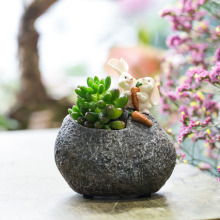 Tabletop Cute Bunny Rabbit Resin Flower Pot Cactus Succulent Planter Pot Planter Bonsai Home Garden Flowerpot Decor Container