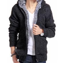Jacket Men Thick Velvet Cotton Hooded Fur Jacket Men Winter Padded Knitted Casual Sweater Cardigan Coat Spring Warm Parka 977