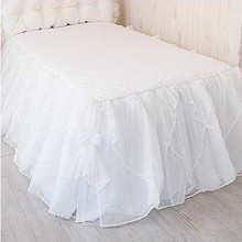 Free shipping Korean luxury with bed surface one piece solid color white lace bed skirt bedspread