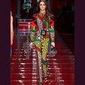 Европейский Американский Женская Мода Vinatge Повседневная 2 Шт. Брюки Набор Длинный Рукав Блузка + Тонкий Брюки Взлетно-Посадочной Полосы Большой Размер 5XL Twin Set