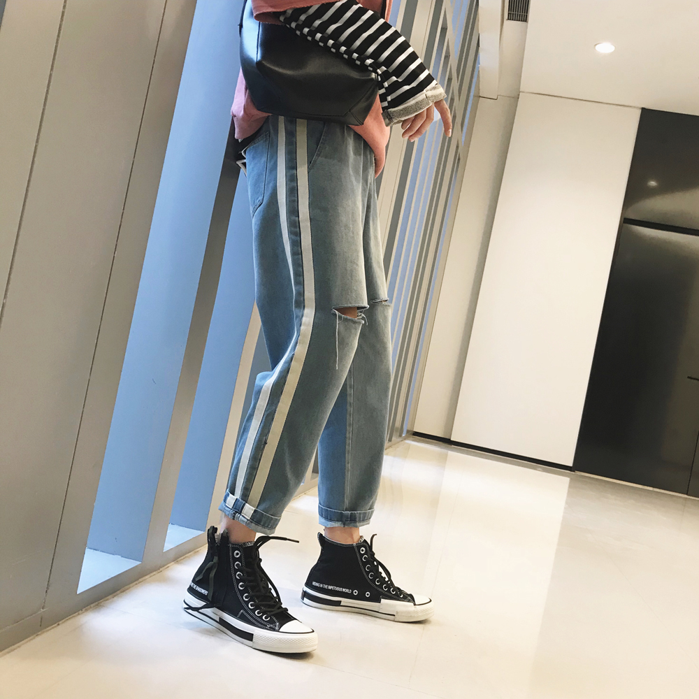 2018 Spring And Summer Newest Mens Fashion Holes Wash Jeans Stripe Weave Bring Pants Casual Bule Color Cowboy Trousers M-2XL