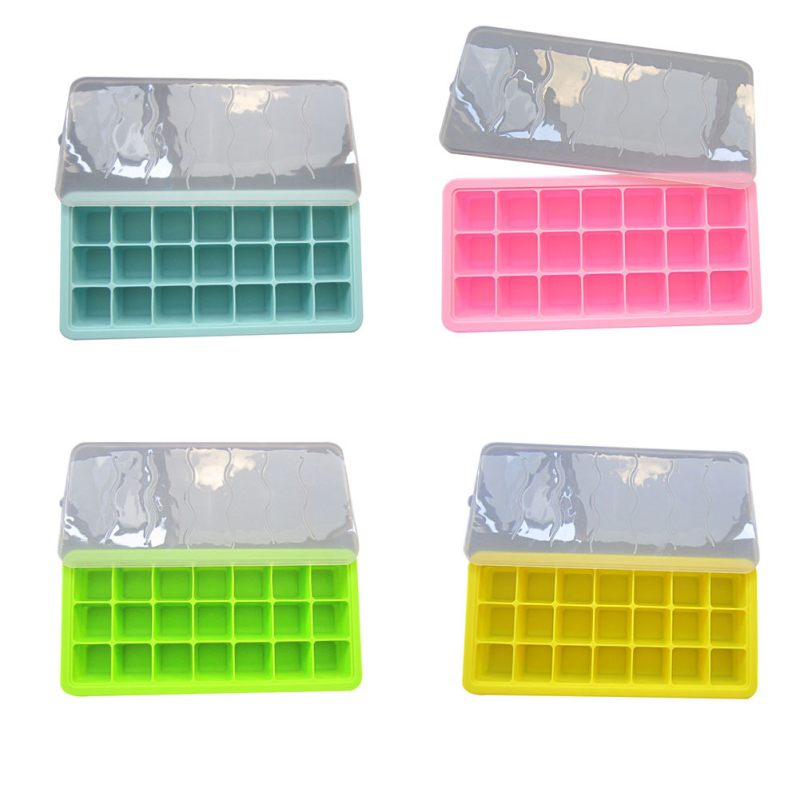 2018 Hot Sale Creative 21 Grids Summer Silicone Ice Cream Box With Cover Froze Ice Mold Kitchen Ice Tool