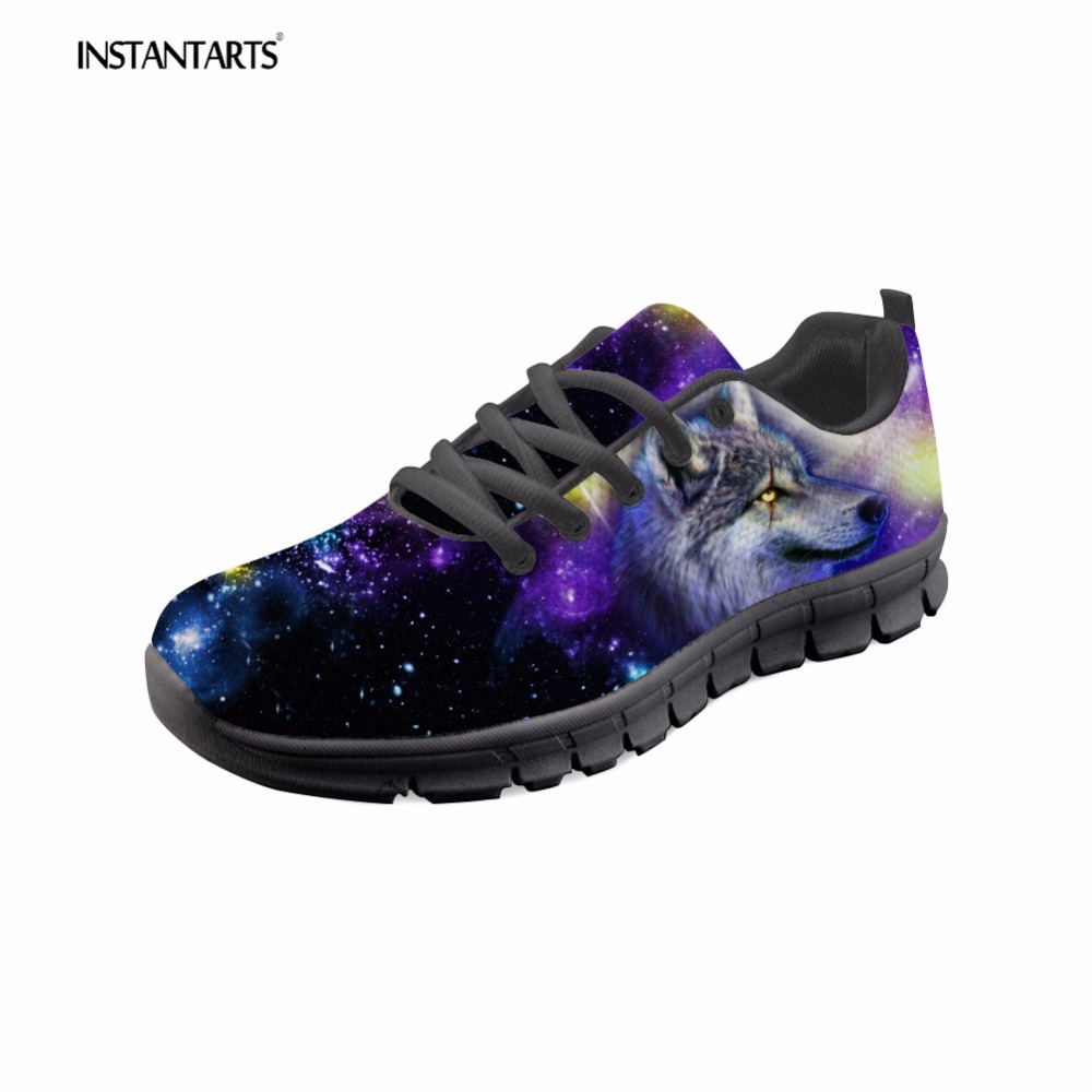 INSTANTARTS Women Flats 3D Galaxy Universe Star Animal Wolf Lion Pattern Student Comfortable Lace Up Sneakers Woman's Flat Shoe