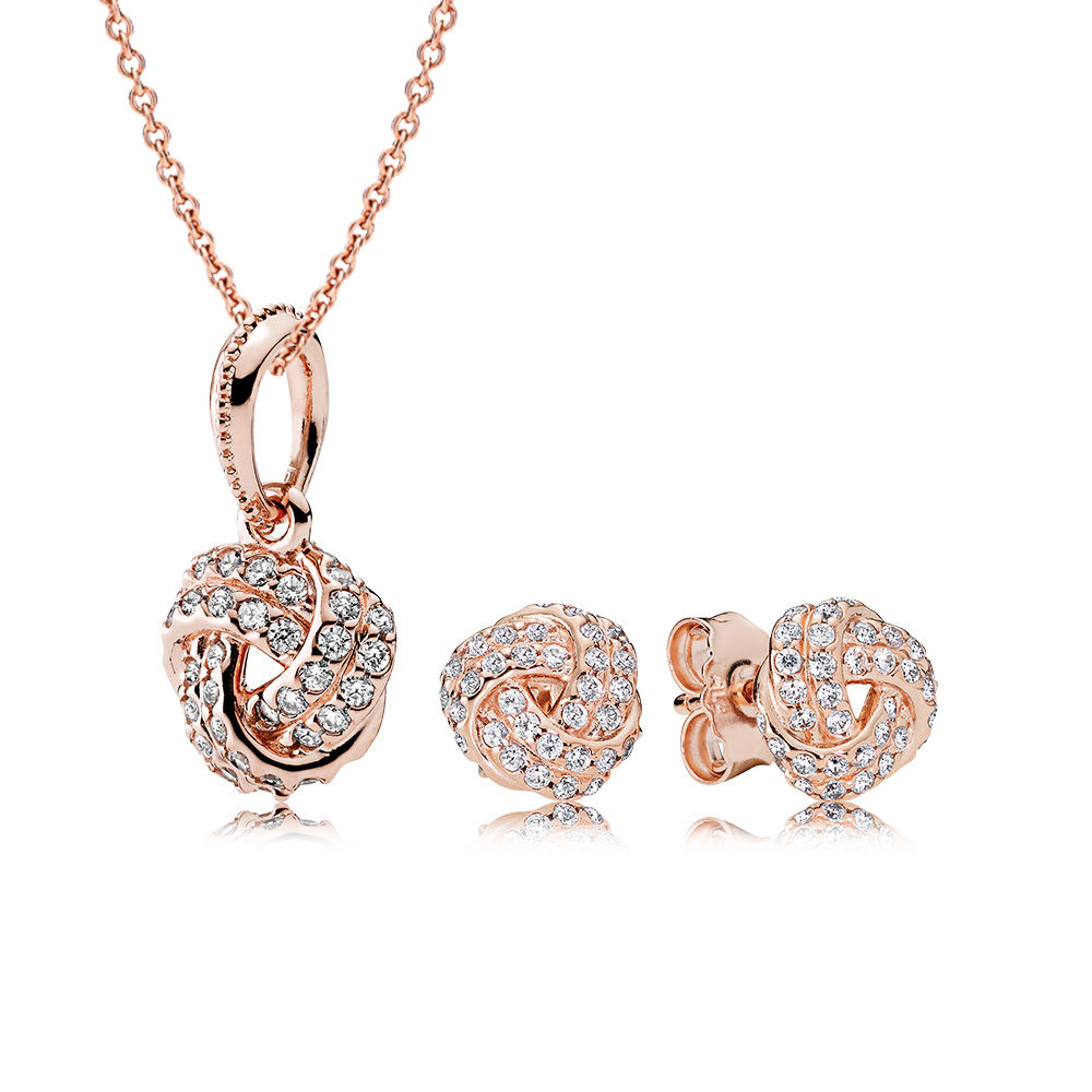 100% 925 Sterling Silver Rose Sparkling Love Knot Gift Set Fit Charm Original Necklace Women jewelry A set of prices