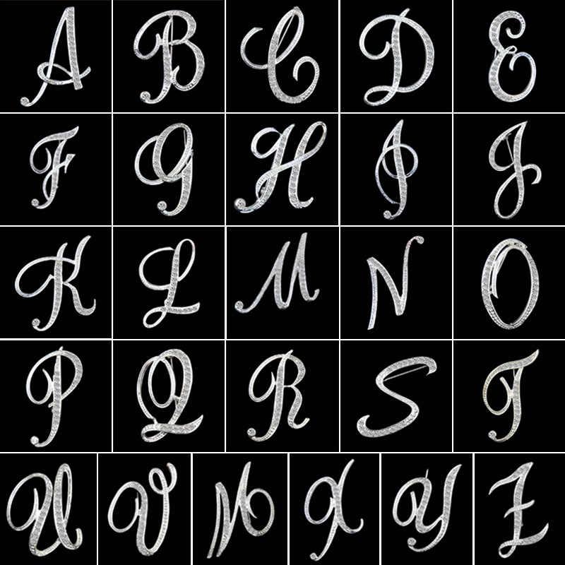 Kristal mektup broş Pins İngilizce mektup alfabetik broş Rhinestone takı hediyeler M8694