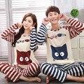 Estilo sonrisa Peces y Gato Amantes de la ropa de primavera otoño largo de la manga amantes de la historieta ropa de hogar a juego parejas pijama conjuntos