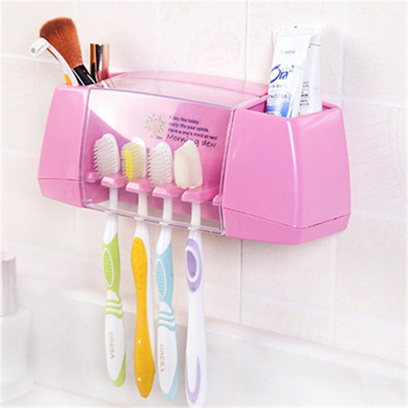 1pc Suction Hooks Toothbrush Holder Toothpaste Holder Bathroom Sets Tooth Brush Cup Container Bathroom Shelves Bath Accessories 1