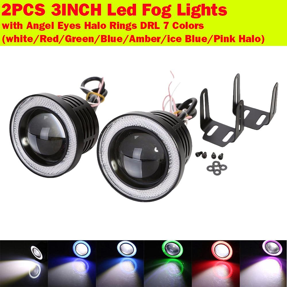 3INCH Car Head Lamp Projector LED Fog Light Blue COB Halo Angel Eye Ring 3200LM