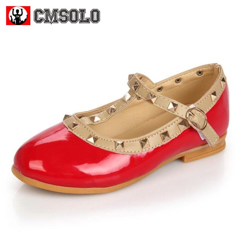 CMSOLO Girls Kids Shoes Party Toddler Princess Single Anti-slip Buckle Rivet Decor Fashion PU Children Comfortable Flat Shoe New