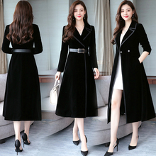 Women Autumn Winter Coats Velvet Coat Slim Long Casual  Wool Blend Jacket Outwear