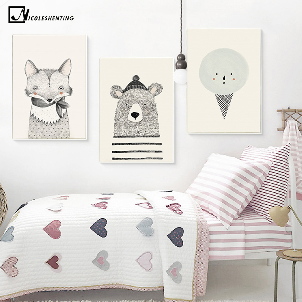 NICOLESHENTING Nordic Art Bear Fox Lerret Plakat Maleri Tegneserie Animal Wall Picture Print Barn Baby Room Decoration