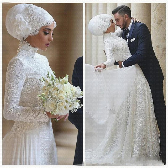2019 Bescheiden Arabische Dubai Kant Bruidsjurken Hoge Hals Lange Mouwen Moslim Trouwjurk Vestido De Noiva