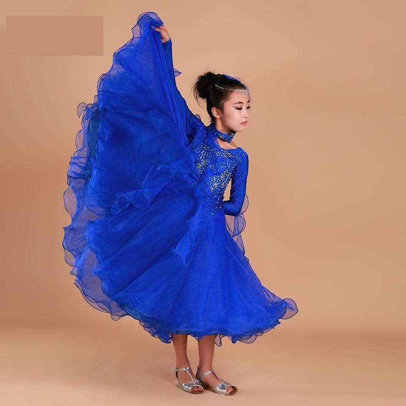 Luxury Rhinestone Girls Embroidery Pendulum Standard Ballroom Dance Dress Children Tango Flamenco Waltz Dance Competition Dress