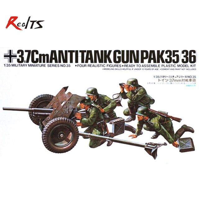 RealTS Tamiya 35035 1/35 Scale Military Model Kit German 37mm Anti-Tank Gun PAK35/36