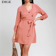 цены 2019 Summer Dress Women V Neck Long Sleeve Button Sexy Bandage Party vestidos Casual Solid Dresses Sundress oodji B0408