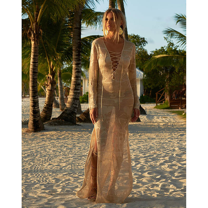 2019 Floor Long Sexy Beach Cover Up Crochet White Swimwear Dress Ladies Bathing Suit Cover Ups Beach Tunic Saida De Praia