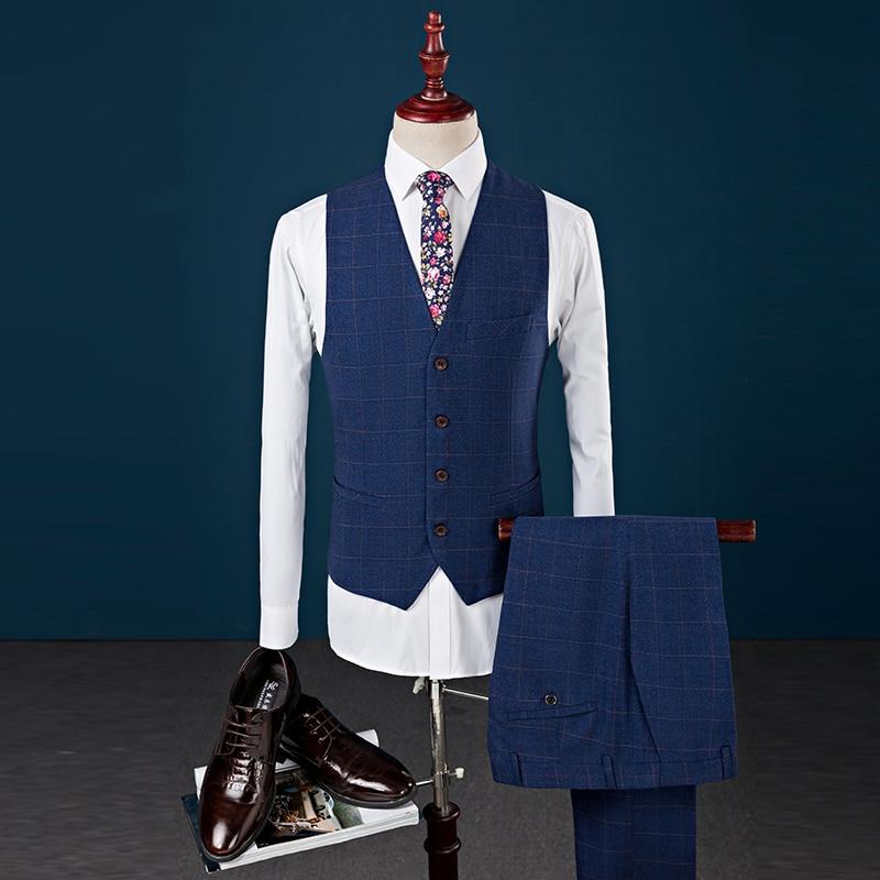 De pu À Hommes Maigre blazer Mariage Mens Formelle Costume Marine Avec M Gentleman Tweed Classique Ciel 3xl Vintage Porter Pantalon Gilet Carreaux Bleu fxwIqF1Ow