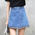 Yichaoyiliang Nuevas Llegadas de la Alta Cintura Delgado Mini Faldas de Mezclilla Mujer Irregular Lado Abierto Niñas Faldas Mujer 2017 Primavera Bottoms