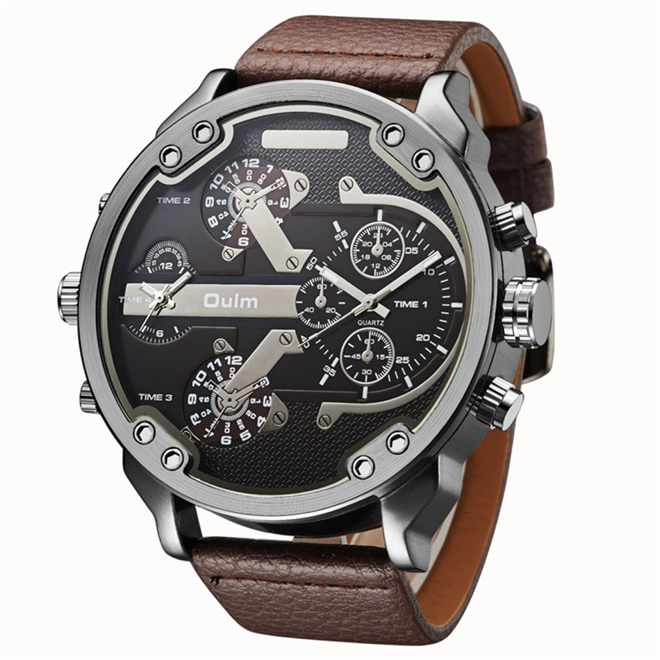 2018 New Arrival Top Brand OULM 3548 Mens 5.5cm Big Face Watches 2 Time Zone Casual Quartz Watch Montre Homme de Marque Grande светильник на штанге idlamp 863 863 2pf oldbronze page 5