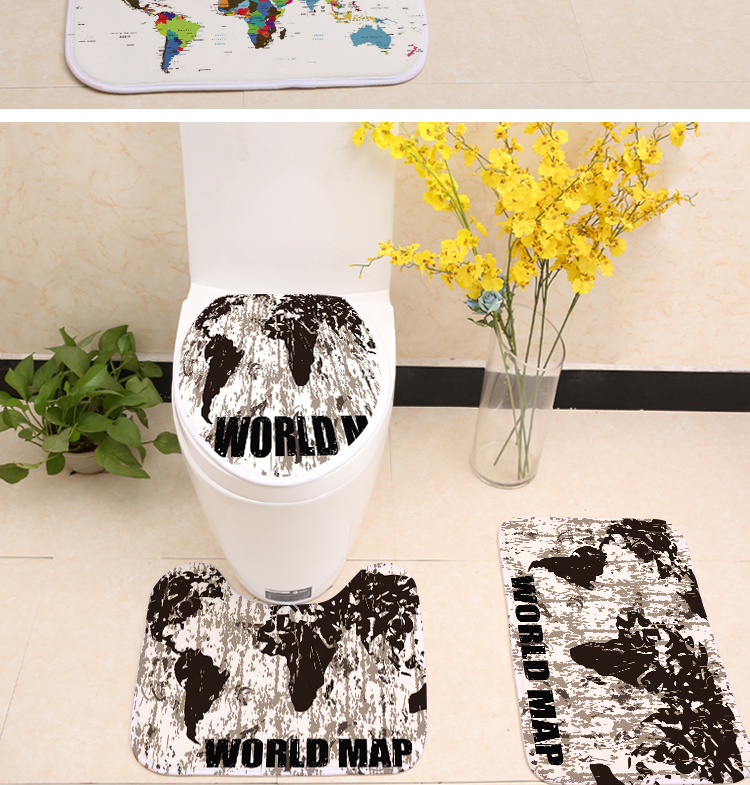 3pcsset world map printing toilet seat cover flannel fabric toilet 3pcsset world map printing toilet seat cover flannel fabric toilet case bathroom non slip mat home decoration products gumiabroncs Image collections