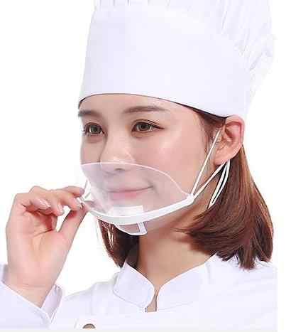 Restaurant Catering Hotel 100 Cook Of Pieces Special Smile Transparent Kitchen Mask Food Plastic Anti-fog