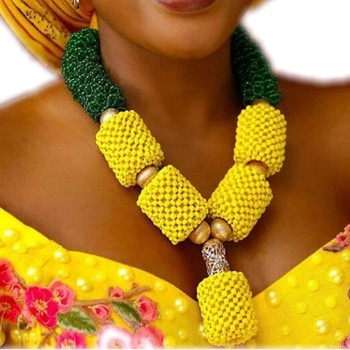 Fashion Yellow & Green Costume Jewelry necklace Set Bold Design African Bridal Jewelry Set For Women Nigerian Beads Jewellery