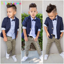 3Piece/2-8Years/Spring Autumn Baby Boys Suits Fashion Gentleman Jacket+Shirt+Pants Children Clothing Sets Toddler Clothes BC1354