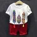Niñas niños Juegos de Ropa de la Historieta Camiseta Cartas de Mezclilla Cortos 2 Unids Verano de Los Muchachos Fija Sistemas de la Ropa