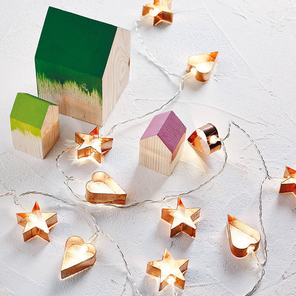 Home Decor Gold shining Heart & Star shape Battery String Lights, Wedding party Decor Lights, Christmas lighting Decor.