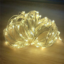 купить 2M 5M 10M 100 Led Strings Copper Wire 3XAA Battery Operated Christmas Wedding Party Decoration LED String Fairy Lights дешево