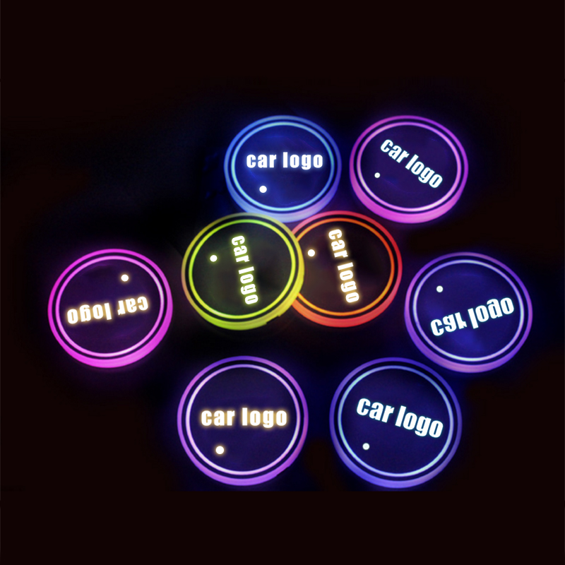 <font><b>Led</b></font> <font><b>Car</b></font> <font><b>Logo</b></font> Cup Lights up Holder <font><b>USB</b></font> Charging 7 Colors Changing image