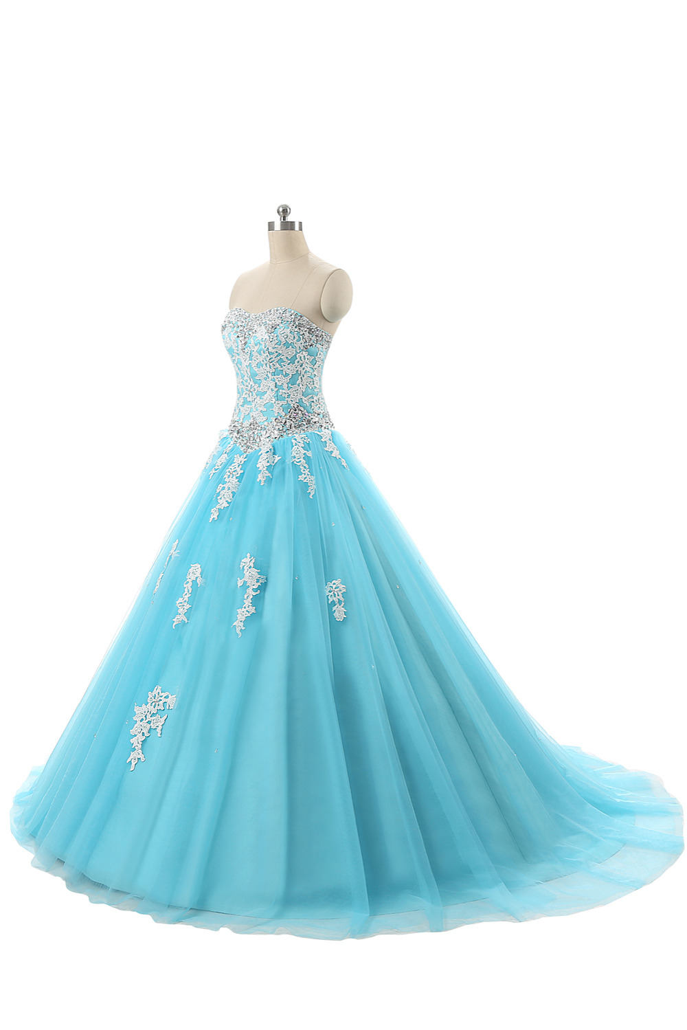 GSBRIDAL Light Blue Off the Shoulder Sweetheart Lace Appliques A Line Prom Dress
