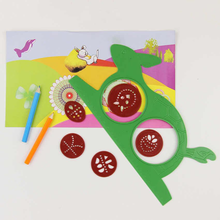 1 Set Nieuwigheid Spirograph Magic Schildpad Konijn Board Sketch Pad Tekentafel Magic Pen Kids Educatief Tekening Heerser