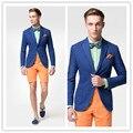 2016 Новая Весна Модный Бренд синий Пиджак Мужчины Высокое Качество 2 кнопка Случайный Пиджак Мужчин Slim Fit блейзер