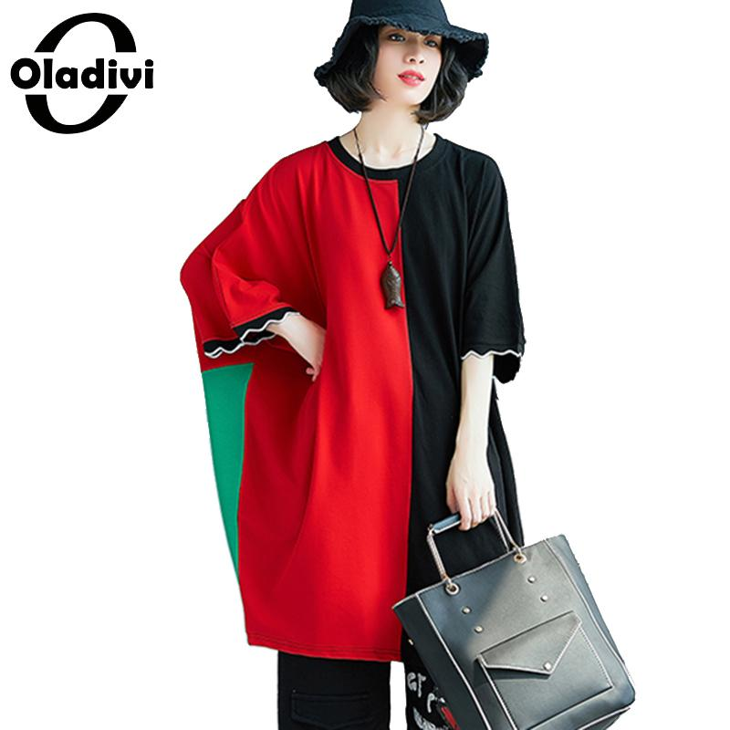 Oladivi Plus Size Women Apaprel Casual Loose Batwing Sleeves Top Tee Fashion Ladies Oversized T Shirt Tunic Female Shirts Blusas