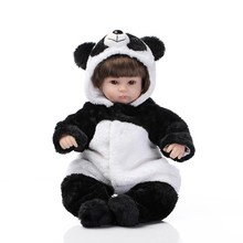 Dressed In Panda Style Cute Rompers 42cm Boneca De Silicone With Free Gift Magnetic Pacifier Lifelike Silicone Reborn Baby Doll