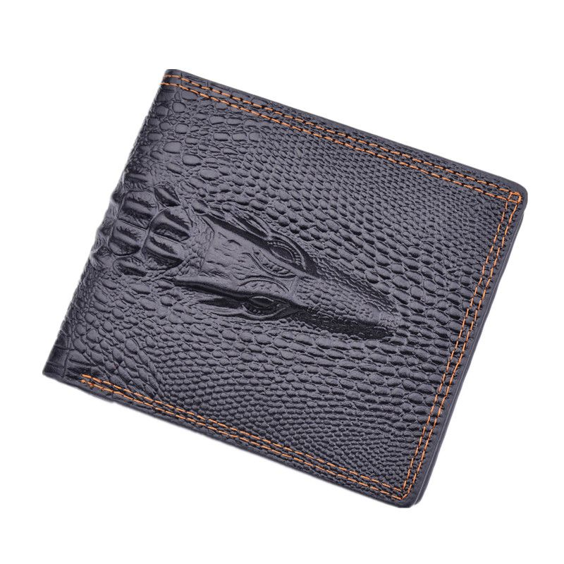 New Arrival Men 's Business Cow Leather Hasp Crocodile Pattern Bifold Wallet Card Holder Purse Coin Pocket For Man Gift new luxury men s faux leather id credit card holder bifold coin purse wallet pockets male clutch purse for men teenager