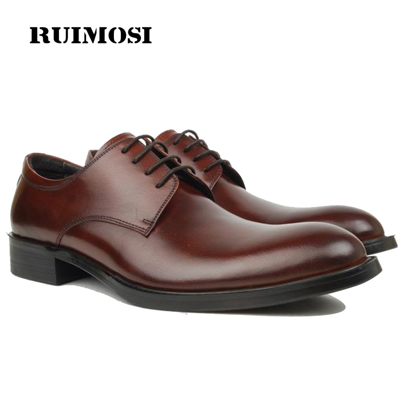 RUIMOSI Formal Man Bridal Derby Dress Shoes Genuine Leather Designer Wedding Oxfords Luxury Brand Men's Handmade Footwear OD91