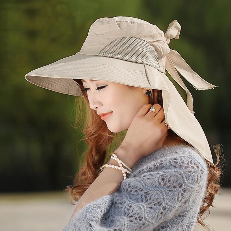 2fdcda8a4 US $6.28 37% OFF|Large brimmed Sun Hat Women 2019 Summer Hat Folding  Sunscreen Anti uv Big Summer Biking Beach Hat Fashion Self tie Bow  Sunhat-in ...