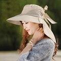 Venda quente! moda grande chapéu de abas largas chapéus de sol sunhats Dobráveis das mulheres Auto-tie Bow Floppy Cap Praia chapéu do Verão chapéu Chapelaria das mulheres