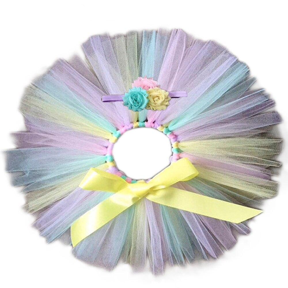 2 Stück Pastell Baby Mädchen Regenbogen Tüll Tutu Rock Multi Farbe Kleinkind 1st Geburtstag Party Tutu Röcke Mit Stirnband Für Fotos