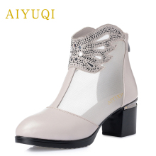 AIYUQI 2019 new large size high heels women sandal genuine leather women's sandals fashion rhinestone Party Platform Sexy shoes цены онлайн