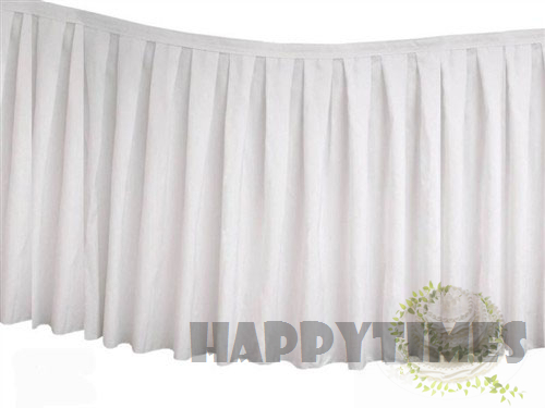 3 Pieces White 14ft Wide Polyester Table Skirt Table Linen For Wedding With Metal Clips Table Skirting