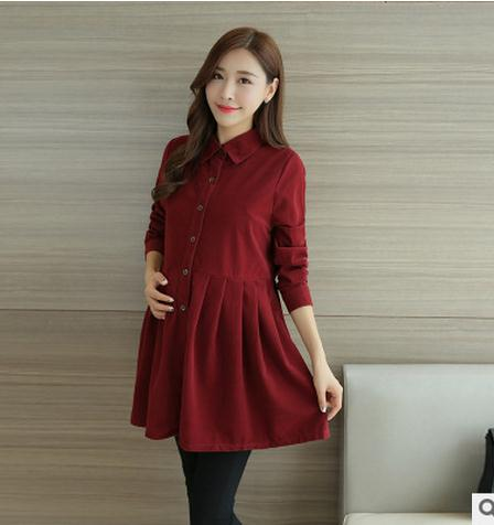 Lasperal 2018 Formal Office Maternity Dress For Women Autumn Spring Lapel Corduroy Pregnancy Clothes Pregnant