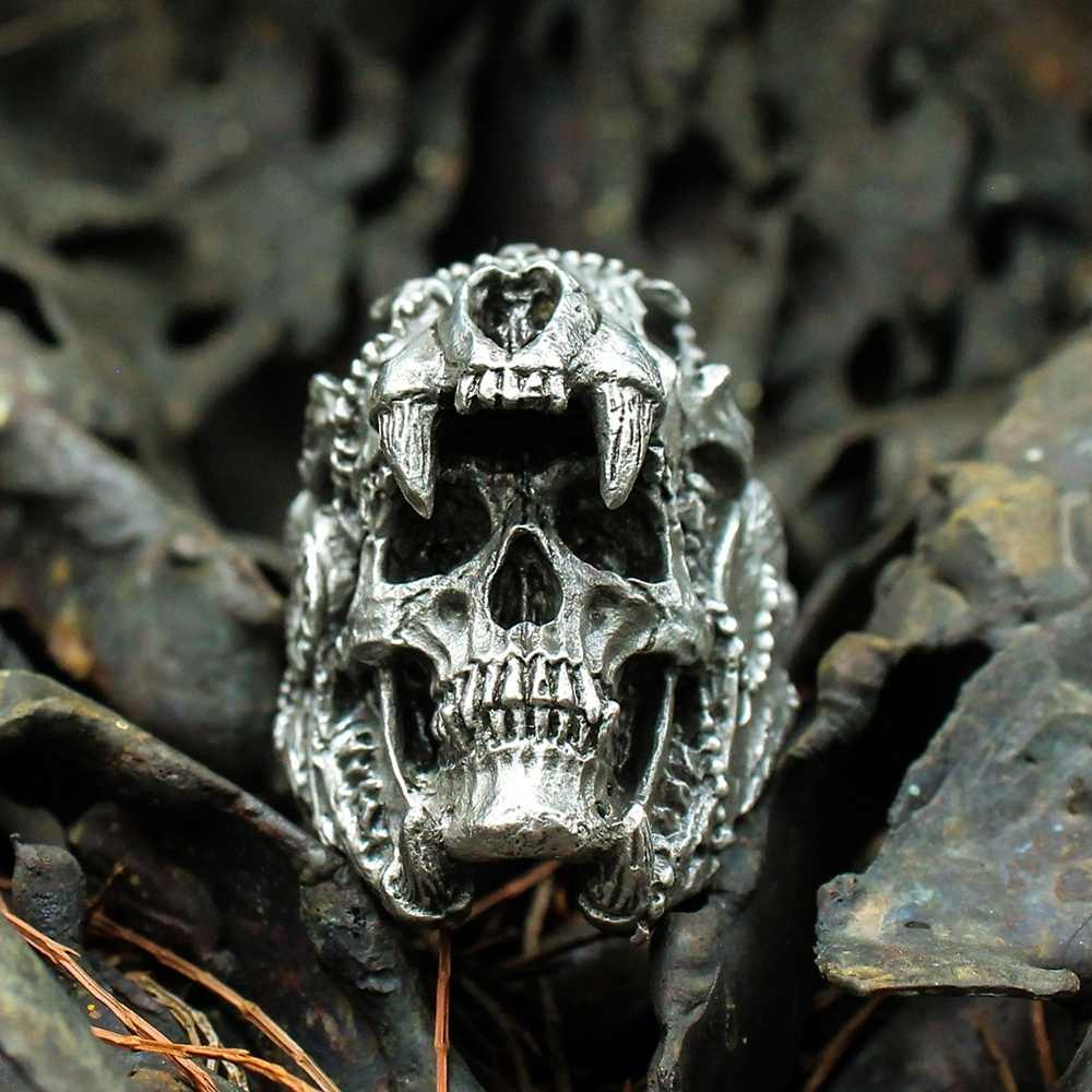 Cool Mens Boys 316L Stainless Steel Biker Rings Vintage Indian Jaguar Warrior Skull Punk Jewelry Gift for Him